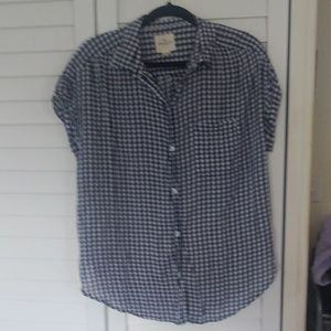 American Eagle Navy Gingham Button Up